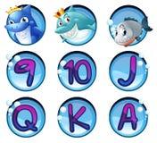 Hajar och bokstäver på runda emblem vektor illustrationer
