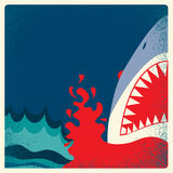 Hajen snackar affischen Vektorfarabakgrund Arkivfoto