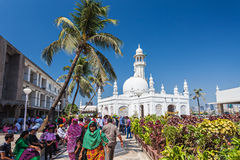 Haji Ali Dargah. MUMBAI, INDIA - FEBRUARY 27: Unidentified people at Haji Ali Dargah on February, 27, 2014, Mumbai, India Royalty Free Stock Photo