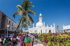 Haji Ali Dargah. MUMBAI, INDIA - FEBRUARY 27: Unidentified people at Haji Ali Dargah on February, 27, 2014, Mumbai, India royalty free stock photo