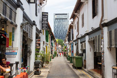 Haji Lane, Full of Cafes and Shops. KAMPONG GLAM, SINGAPORE - AUGUST 17, 2016: Haji Lane is a recently restored street in the historic Malay Heritage District Royalty Free Stock Image