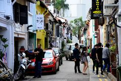 Haji Lane. Is a funly enclave inSingapore, next to the Arab district, and is frequent by groovy young people. There are independent boutiques, tattoo parlours Royalty Free Stock Photo