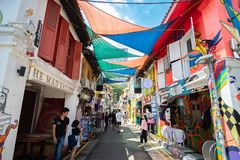 Free Haji Lane Is In The Kampong Glam Neighbourhood Of Singapore. Young People Frequent The Shophouses Along This Lane For The Royalty Free Stock Images - 149613489