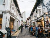 Haji Lane in Kampong Singapore affascinante offre il posto al ritrovo fotografie stock