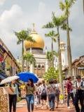 Haji Lane, Nov., 2018 van Singapore 26; Belangrijkst standpunt van Masjid-Sultan bij Muscateldruifstraat in Kampong Glam Moslimkw stock afbeelding
