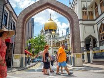 Haji Lane, Nov., 2018 van Singapore 26; Belangrijkst standpunt van Masjid-Sultan bij Muscateldruifstraat in Kampong Glam Moslimkw royalty-vrije stock afbeelding
