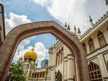 Haji Lane, Nov., 2018 van Singapore 26; Belangrijkst standpunt van Masjid-Sultan bij Muscateldruifstraat in Kampong Glam Moslimkw stock foto