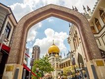 Haji Lane, Nov., 2018 van Singapore 26; Belangrijkst standpunt van Masjid-Sultan bij Muscateldruifstraat in Kampong Glam Moslimkw royalty-vrije stock afbeeldingen