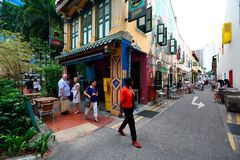Haji lane Singapore. Haji Lane is in the Kampong Glam neighbourhood of Singapore. Young people frequent the shophouses along this lane for the independent Stock Photo