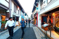 Haji lane Singapore. Haji Lane is in the Kampong Glam neighbourhood of Singapore. Young people frequent the shophouses along this lane for the independent Stock Photography