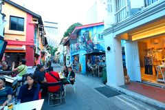 Haji lane Singapore. Haji Lane is in the Kampong Glam neighbourhood of Singapore. Young people frequent the shophouses along this lane for the independent Stock Images
