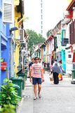 Haji lane Singapore. Haji Lane is in the Kampong Glam neighbourhood of Singapore. Young people frequent the shophouses along this lane for the independent Royalty Free Stock Images