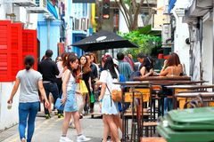 Haji lane Singapore. Haji Lane is in the Kampong Glam neighbourhood of Singapore. Young people frequent the shophouses along this lane for the independent Stock Image