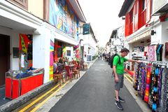 Haji lane Singapore. Haji Lane is in the Kampong Glam neighbourhood of Singapore. Young people frequent the shophouses along this lane for the independent Royalty Free Stock Photography
