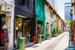 Haji Lane in Singapore. SINGAPORE - SEPTEMBER 7, 2017: Haji Lane in Kampong Glam is the city`s mecca of fashion boutiques, eclectic collection of trendy stores Stock Photo