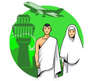 Hajj Couple And Airport Background Royalty Free Stock Photo