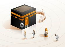 Hajj in Kabbah of Mecca vector illustration