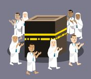 Hajj Pilgrimage Praying Around Kabaa. Vector illustration of Hajj pilgrimage praying around Kabaa Stock Image