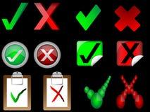 Hak och korstecken till höger och fel tecken   stock illustrationer