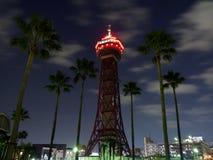 Hakata Port Tower at night. The Hakata Port tower is a symbolic tower of Fukuoka, Japan Royalty Free Stock Photo