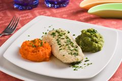 Hake filet. With carrots and broccolis purees in an elegant dinner plate Stock Image
