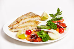 Hake filet grille with steamed Stock Image