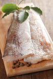 Hake fillet. Raw fillet of hake on the cutting board with spices Royalty Free Stock Images