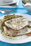 Hake fillet with green beans Royalty Free Stock Photos