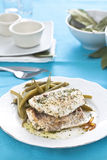 Hake fillet with green beans Stock Images