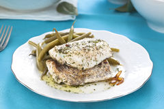 Hake fillet with green beans Stock Photo