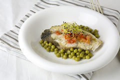 Hake fillet with tomato and sprouts, Stock Photography