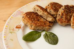 Hake fish cutlets with purple onions and oats stock photo