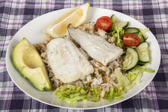 Hake on Fried Jasmine Rice with Lemon, Avocado and Salad Royalty Free Stock Images