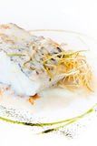 Hake and leek sauce Stock Photo