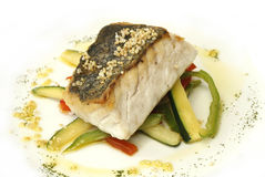 Hake roasted with vegetables Royalty Free Stock Images