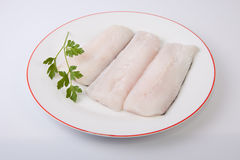 Hake steaks on plate Stock Photography