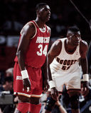 Hakeem Olajuwon and Dikembe Mutumbo. Royalty Free Stock Image