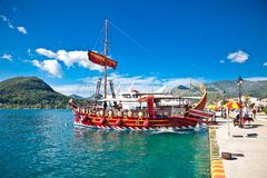 Touristic sailing boat , Lefkada, Greece. HAKIDIKI, GREECE-JUNE 2, 2014: Touristic sailing boat in Nydri, Greece.on June 2, 2014. Touristic ship transport Stock Image