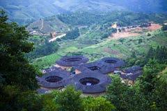 HakkaRoundhousetulouen walled byn, Fujian, Chi Royaltyfri Foto