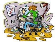 Hakker die aan computer in allegaartjeruimte werkt Stock Foto