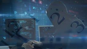 Hakker die computer in donkere ruimte met behulp van vector illustratie