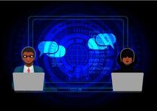 Hakker die de Internet binnendrongen in een beveiligd computersysteem abstracte computerserver, illustrator met behulp van royalty-vrije illustratie