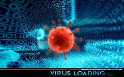 Hakker en computervirus - concept Stock Foto's
