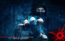 Hakker en computervirus - concept Royalty-vrije Stock Afbeeldingen