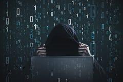 Hakker, nul en degenen, zwart laptop, Stock Foto's