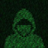 Hakker op binaire codeachtergrond stock illustratie