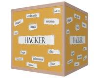 Hakker op een 3D Word van kubuscorkboard Concept Royalty-vrije Stock Afbeeldingen
