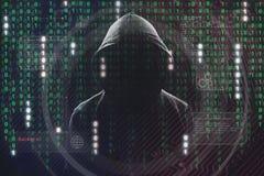 Hakker op het werk stock foto's