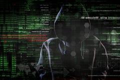 Hakker op het werk royalty-vrije stock foto's