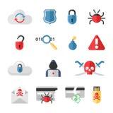 Hakker vlakke die pictogrammen met de barstworm van het insectenvirus worden geplaatst Stock Foto's
